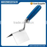 110x75x75mm External corner bricklaying trowel with silver blue wooden handle, stainless steel blade