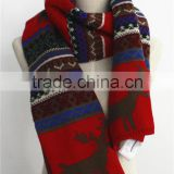 Chirstmas Pattern Acrylic Winter Double sides Scarf