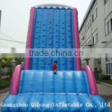 Toboggan blue inflatable climbing wall,giant climbing wall with bouncer for kids and adult