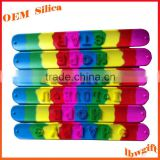 Brush hair letters/words Spiky rubber silicone slap band bracelet