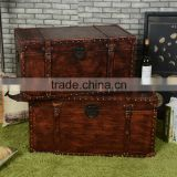 European And American Countryside Style Faux Leather Vintage Storage Trunk Box/Case Sets