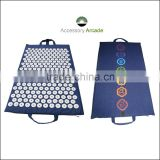 Rounded ABS Plastic nails Acupressure therapy Massage Mat with back side chakra Embroidery.