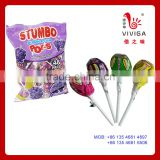 28g Fruit Flavor Stumbo pops lollipop with bubble gum