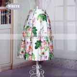 European Style Lady Women New Fashion Vintage Style Elastic Waist Floral Midi Skirt