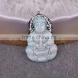 Natural Jade Gem Stone Pendant, Guanyin / Mother Buddha Pendant, with Crystal Paved Jade Druzy Pendant
