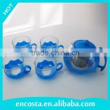 Elegance Blue Glass Tea Pot Sets With 4 Cups and Plastic Holder
