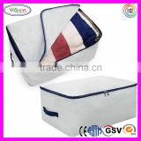 E504 Flax Cotton Fabric Foldable Pillow Storage Zippered Bag Handles Washable Zipper Bag for Pillow
