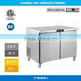 2017 Best Seller Double Door Under Counter Commercial Stainless Steel Refrigerator Freezer