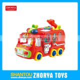 Funny Enlightenment baby toys plastic battery operated vechicles cartoon musical fire engines toys with blocks and light