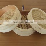 20cm natural bamboo food steamer cooker with black net to package