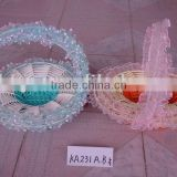 Round/Egg shaped cloth and paper rope foldable holiday decoration gift flower basket