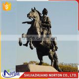 Life size bronze man on the horseback statue for square decor NTBH-012LI