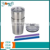 Wholesale Set of 2 8.5oz Stainless Steel Sippy Cup with Lid and Straw