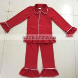 Hot sale cute fashion kids ruffle japamas fashion weastern girls japamas christmas baby outfit wholesale