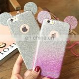 Glitter Minnie Mickey Mouse Ears Soft TPU Case For Samsung Iphone Transparent Cover Clear Phone Bags Coque