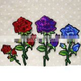 Stock Flower Red Purple Blue Rose Applique Embroidery Patches
