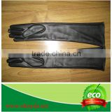 Ladies long black leather gloves sheepskin gloves