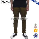 OEM Custom Mens Olive Stretch Destroy Twill Casual Pants