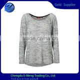 Woman Long Sleeve Scoop Neck Plain Classic Gray T shirt
