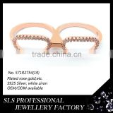 Sunglasses double rings simple rose gold plated rings 925 silver jewelry rings for girls