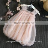 Sweet girl korean style children summer dresses baby girl tulle lace beaded suspender dress