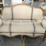 France solid wood furniture/ linen soft package sofa/ classic eiderdown double seat or three seat sofa