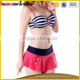 Red bikini dress girl stylish stripe padded sexy girls two pieces swimwear                                                                                                         Supplier's Choice