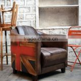 Vintage industrial Furniture wholesale ,Canvas Leather Singe seater sofa