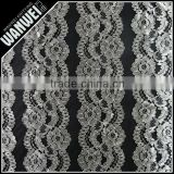 black double flowers with bright and resilient mesh for wedding dress Chantilly lace plain yarn polyester nylon lace fabric