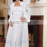 White cotton night dress and robe with blue embroidery-design 2