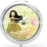 chinese girl hot beauty salon mirror for monther's day gift pocket mirror/metal compact mirror