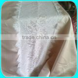 "132""R BURLAP TABLE CLOTH WITH LACE RUNNER AT THE CENTER"
