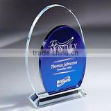Wholesale Blank Clear And Blue K9 Crystal Corporate Awards Plaque With Customized Logo Engraved