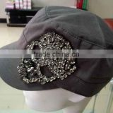 WLLS030326 100%Cotton plain dark brown vintage military baseball cap with silver rhinestones