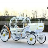 Romantic white wedding cinderella horse buggy carriage party decoration