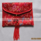 zipper broade coin purse pouch with button Chinese knot
