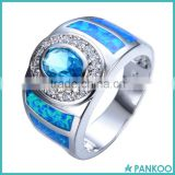 Wholesale China 925 Sterling Silver Pave Blue Crystal Synthetic Opal Jewelry Wedding/Party Ring