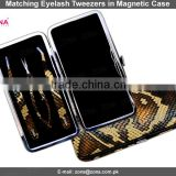 Eyelash Extension Tweezers In Snake Print Magnetic Case / Get Customized Designed Lashes Kits From ZONA PAKISTAN