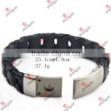 Unique Designer 316L Stainless Steel Bracelets Black Leather Knitted Magnetic Clasp Bracelet Men Jewelry(LB15112303)
