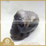 hot sale natural gray agate geode crystal skull with amethyst geode good for art collection or gift to friends