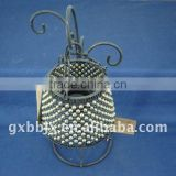 White pearl black wire decorative desk metal lantern