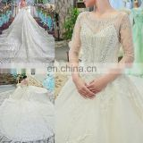 LS00391 beaded wedding gown with 3/4 length sleeves white long gown cathedral train wedding dress