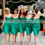 Simple Green Short Bridesmaid Dresses Knee Length Sweetheart Off the Shoulder Brides Maid Dresses Chiffon Wedding Party Dresses