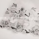 high quality embroidered silk organza fabric for cloth curtain