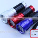 14 LED aluminum Flashlight with rubber hand