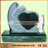 Shanxi Black Granite Angel with Heart Tombstone