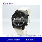 details quartz watches stainless steel back, white silicone strap
