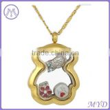 Gold plated stainless steel teddy bear locket pendant necklace