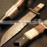 "udk h19"" custom handmade Damascus hunting knife with Camel bone, horn and wood spacer"