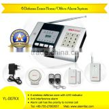 PSTN telephone line wireless anti intrusion alarm systems with door contacts and PIR detector